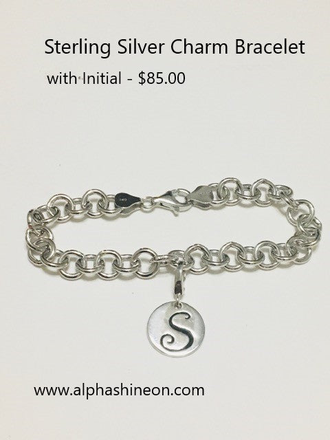 Silver Charm Bracelet with Initial - Alpha Shine On LLC