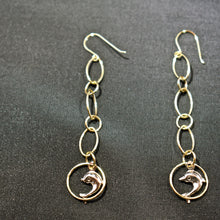 Load image into Gallery viewer, Hanging Dolphin Earrings in 14K 2 Tone Gold - Alpha Shine On LLC