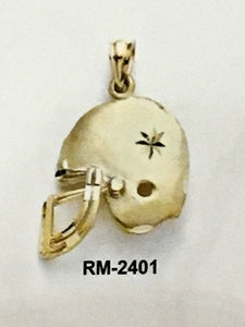 Football Helmet  Pendant in 14K Gold - Alpha Shine On LLC