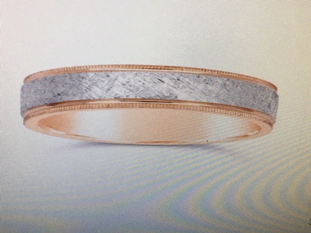 Wedding Band 14k Two-Tone White and Rose Gold - Alpha Shine On LLC