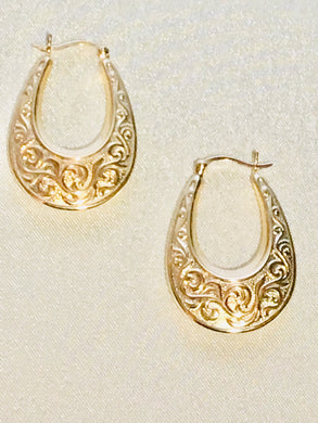 Floral Engraved 14K Gold Hoop Earrings - Alpha Shine On LLC