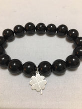 Load image into Gallery viewer, Bead Bracelet Onyx with Silver Charm - Alpha Shine On LLC