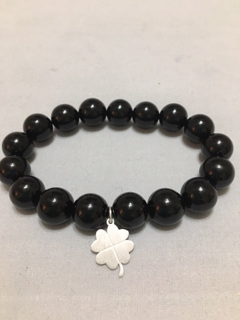 Bead Bracelet Onyx with Silver Charm - Alpha Shine On LLC