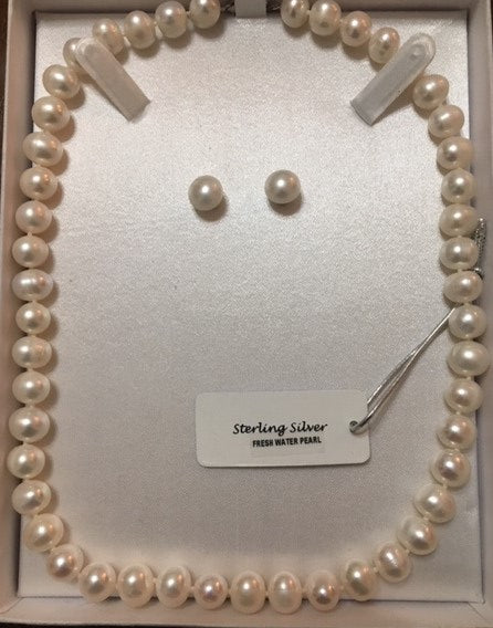 Fresh Water Pearls Necklace and Earring Set, in Sterling Silver - Alpha Shine On LLC