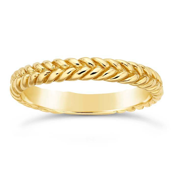14K Yellow Gold 3.2mm Braided Wedding Band - Alpha Shine On LLC