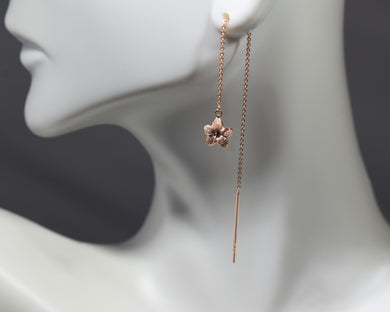 Threader Earrings in 14K Rose Gold - Alpha Shine On LLC