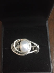 Sterling Silver and Pearl Ring Handmade - Alpha Shine On LLC