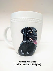 Black Lab painted on a coffee mug, pet portrait coffee mug, paint my pet on a mug