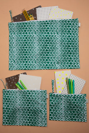 Green Faded Moon Printed Pouches
