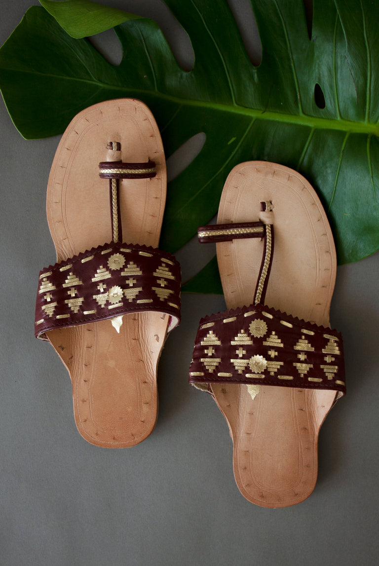 Metallic Weaved Chappals