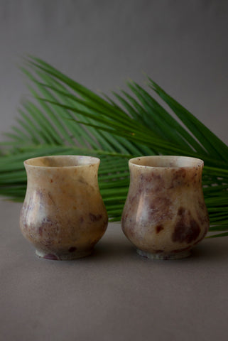 Brown Alabaster Cups -set of 2