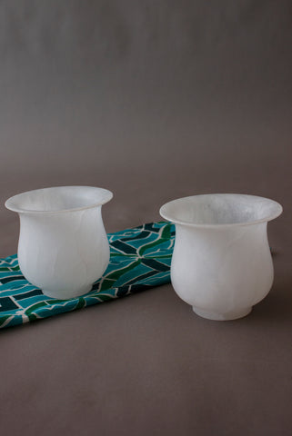 White Alabaster Cups - Set of 2