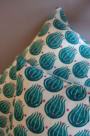 Teal Tulip Cushion Cover