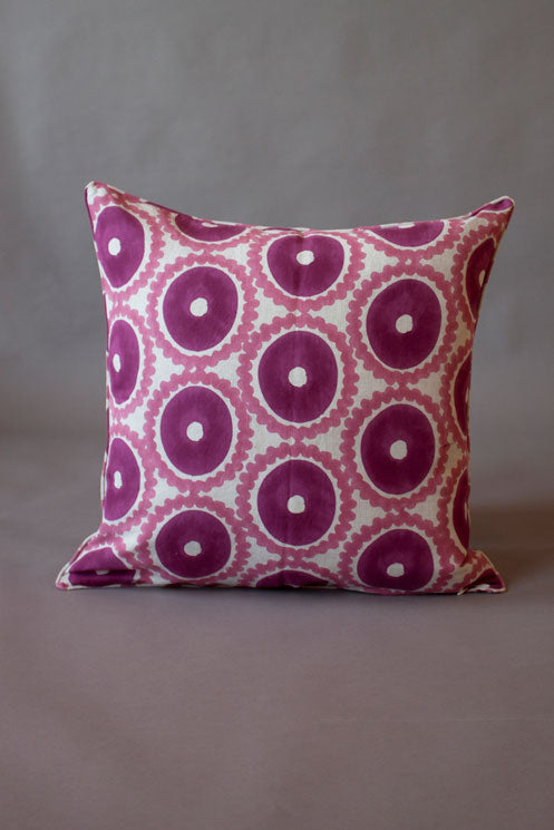 Pink Printed Suzani Cushion Cover