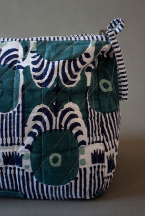 Navy Ikat Print Toiletry Bag