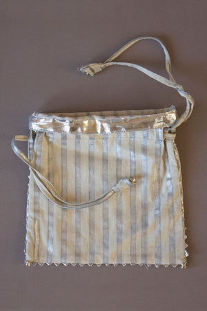 Silver Striped Drawstring Bags