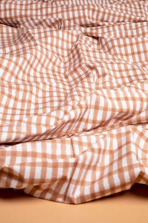 Beige Gingham Duvet Cover