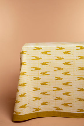 Yellow Bird Stripes Tablecloth