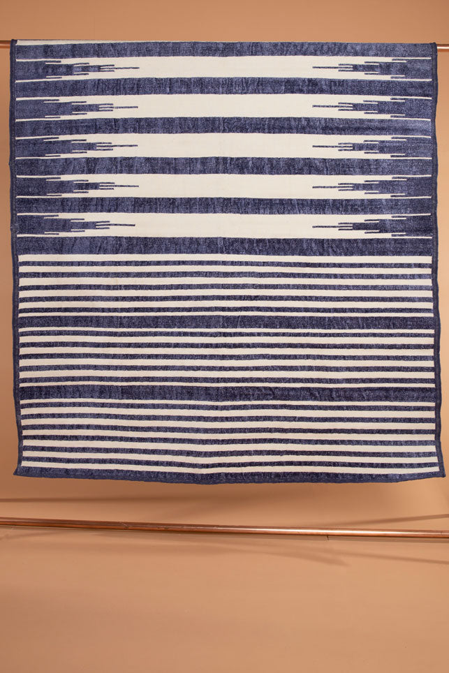 Navy Striped Dhurrie