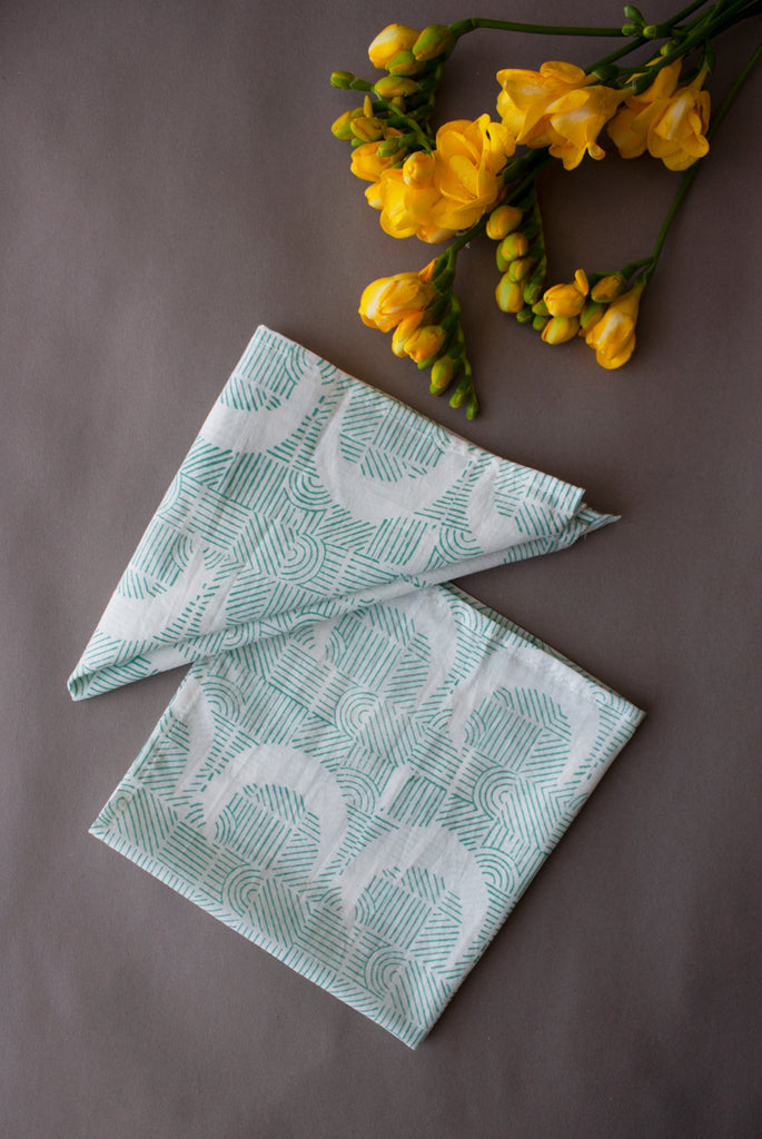 Turquoise Moon Stripes Napkins