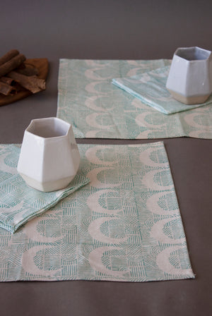 Turquoise Moon Stripes Placemat