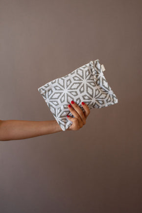Grey Geoflow Printed Pouch
