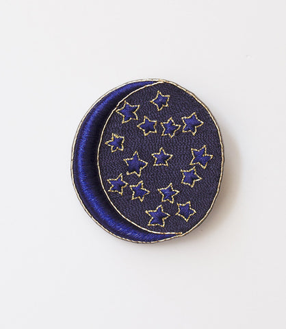 Royal Blue Starry Crescent Charm