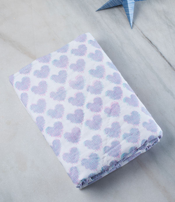 Pink Printed Ikat Heart Baby Quilt
