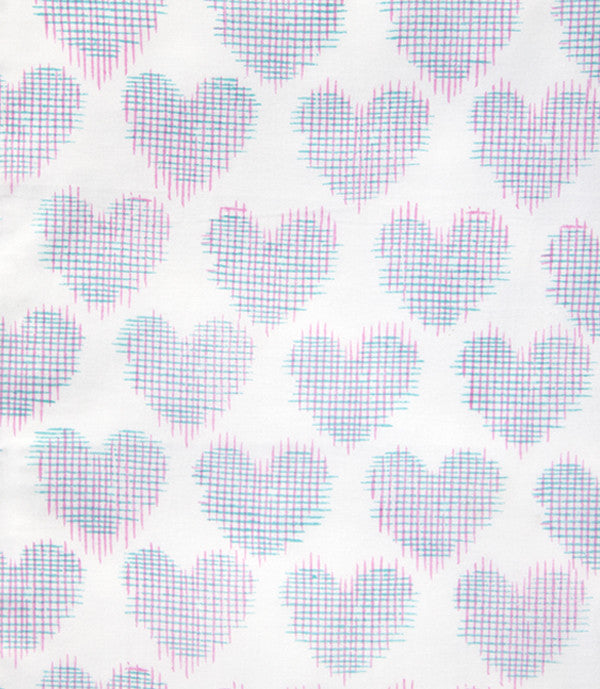 Pink Printed Ikat Heart Baby Sheet