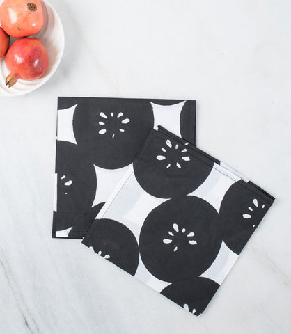 Black Nimbu Napkins- Set of Two