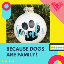 Load image into Gallery viewer, Personalized White Ornament with Dog's Name