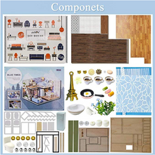 "Load image into Gallery viewer, DIY Miniature DollHouse Kit ""Blue Times"" - Scale 1:24"