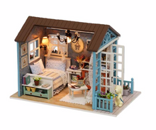 "Load image into Gallery viewer, DIY Miniature Dollhouse Kit ""Little Blue Cottage"" - Scale 1:24"