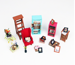 "DIY  Miniature Dollhouse Kit ""Sam's Study Room"" - Scale 1:24"