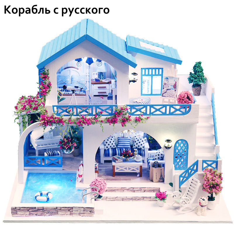 Doll House Diy Furniture with Swimming Pool Girl's Toys for Children Dollhouse Miniatures Home Toy  Wooden House Romantic Gift