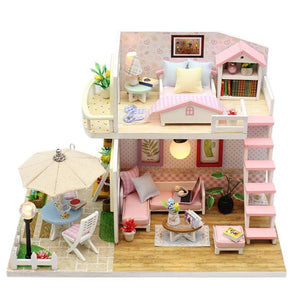 "DIY Miniature Dollhouse Kit ""Pink Delight"" - Scale 1:24"