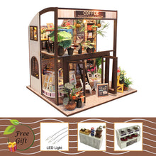 "Load image into Gallery viewer, DIY Miniature Dollhouse Kit ""Coffee House"" - Scale 1:24"