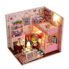 "Load image into Gallery viewer, DIY Miniature Dollhouse Kit ""Pink Bunkbed"" - Scale 1:24"
