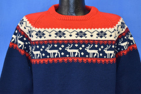 70s Skandinavia Reindeer Argyle Diamonds Wool Ski Sweater Medium