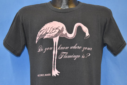 80s Do You Know Where Your Flamingo Is Holyoke t-shirt Medium