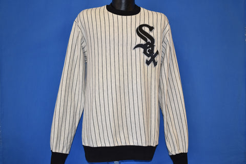 80s Chicago White Sox Pinstriped Sweatshirt Large