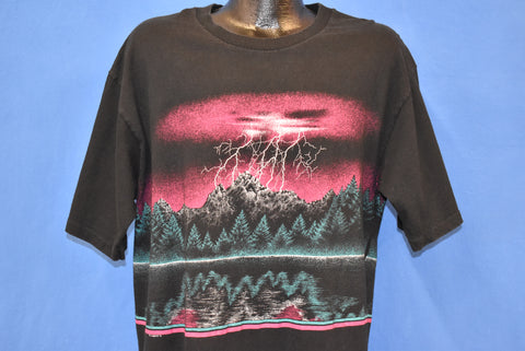 90s Lightning Storm In The Mountains t-shirt Extra Large