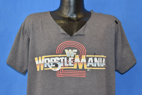 80s WWF Wrestlemania 2 Distressed Cut Up t-shirt Extra Large