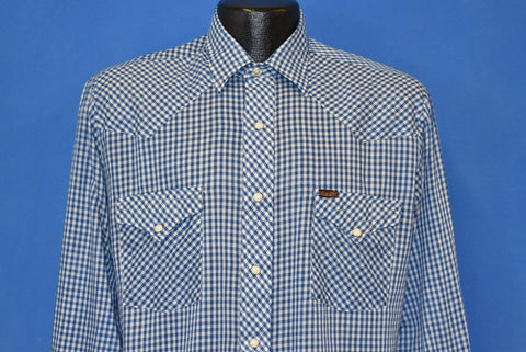 80s Wrangler Blue and White Gingham Western Shirt Medium