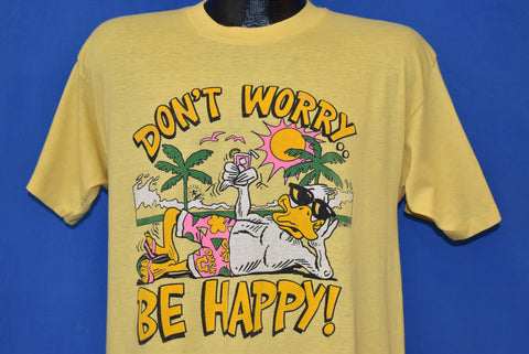 80s Don't Worry Be Happy Duck Vacation t-shirt Large