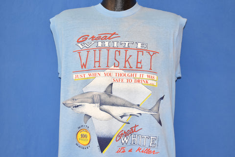 80s Great White Shark Whiskey Sleeveless t-shirt Large
