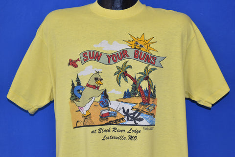 80s Sun Your Buns at Black River Lodge Tourist t-shirt Extra Large
