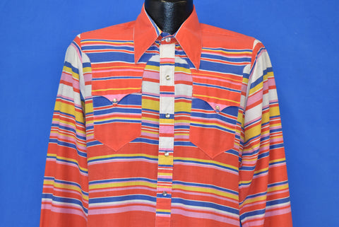 70s Rockmount Striped Pearl Snap Western Shirt Medium
