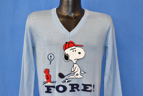 80s Snoopy Fore! V-Neck Golf Sweater Small