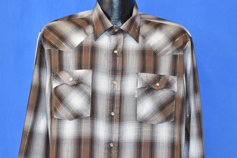 80s Levi's Shadow Plaid Pearl Snap Western Shirt Extra Large